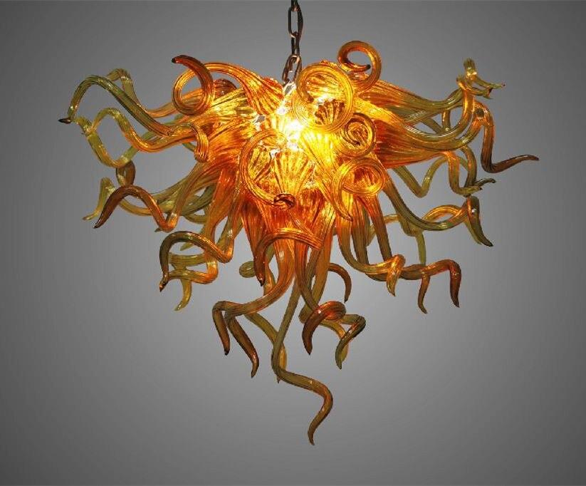 Vidrio ámbar de la lámpara para la decoración del hogar fuente de luz de ahorro de energía barato Chihuly estilo de la mano de vidrio soplado araña barato