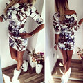GZDL Hot Sale New Style Fashion Women Sexy Bandage Bodycon Summer Evening  Party Long Sleeve Print Mini Dress CL2963