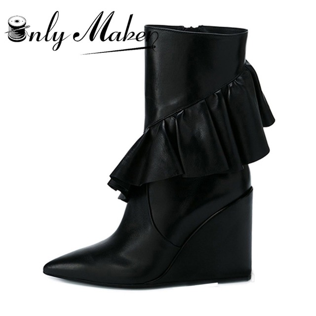 a8541a951e Onlymaker brand fashion design fringe boots women's Ankle Boots Ladies  tassel Boots Leather Pointed Toe Wedges Heel boots