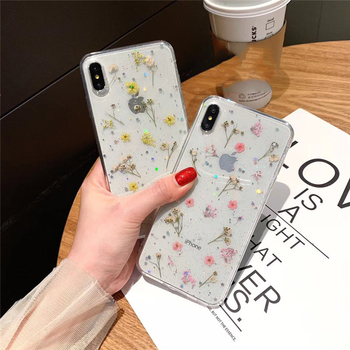 Dried Real Flower Handmade Clear Pressed Phone Case For iPhone 6 6S 7 8 Plus X XS Max XR 11pro max Case Soft TPU Back Cover Capa 1