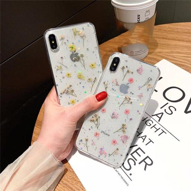 Séché Vraie Fleur Clair Fait Main Pressée Pour iPhone 6 6S 7 8 Plus X XS Max XR 11pro max Étui Souple TPU Couverture Arrière Capa