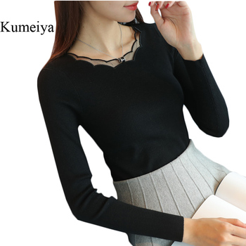 Kumeiya Black White Women Sweater High Elastic Solid 2019 Autumn Winter Fashion Lace Sweater Women Slim Sexy Knitted Pullovers
