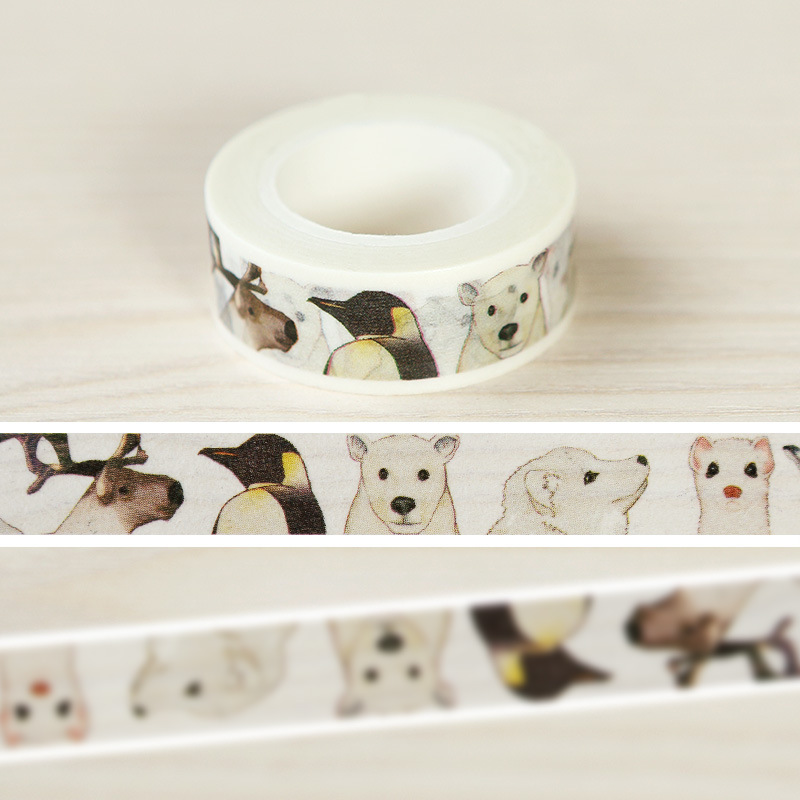 1pc Diy Japanese Paper Decorative Adhesive Tape Cartoon Animal World Washi Tape/masking Tape Stickers Size 15mm*10m