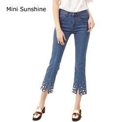 Модные джинсы Для женщин заклепки Бисер Джинсы для женщин Эластичные Обтягивающие джинсы женщина карандаш Брюки для девочек Рваные Джинсы