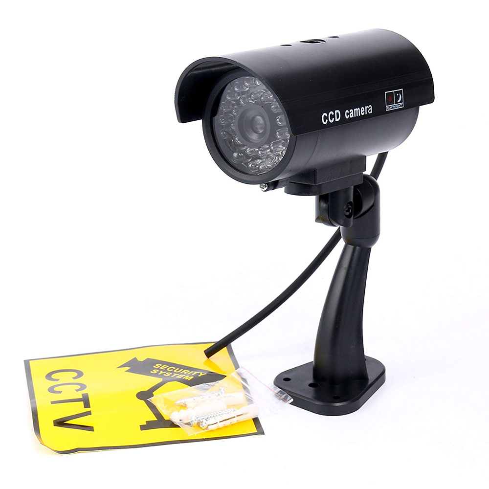 Waterproof Outdoor Fake Simulation Dummy Camera CCTV Home Surveillance Security Mini Camera Flashing LED Light Fake Camera Black