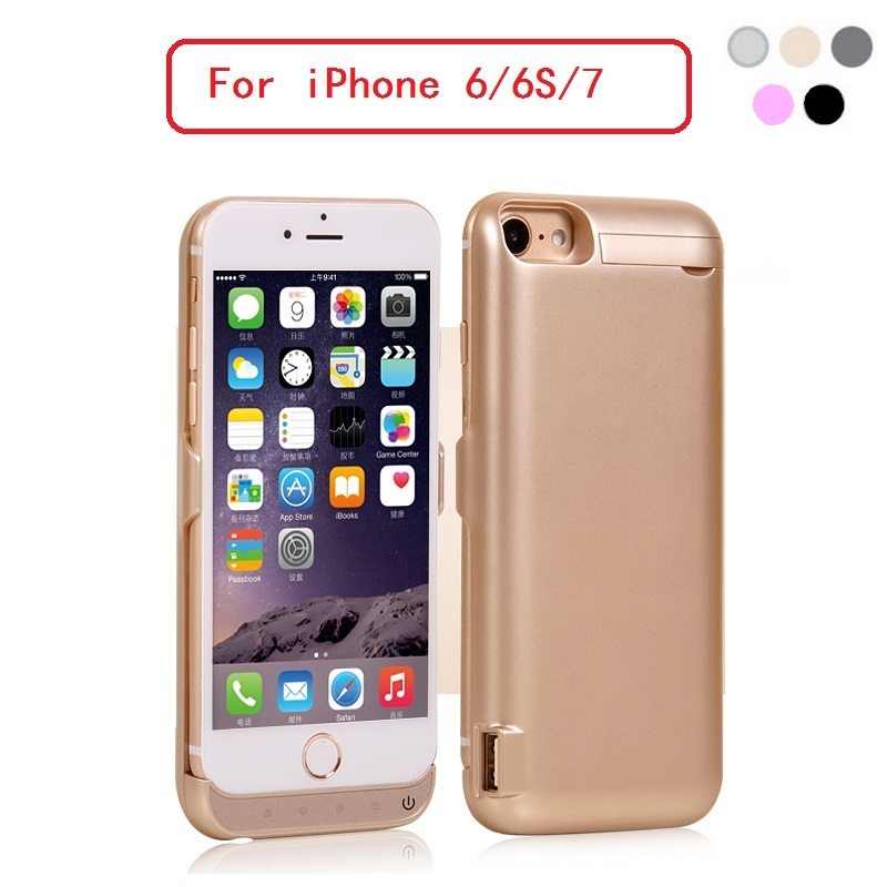 Free Shipping 5500mAh High Quality Backup Battery Power Case Charger w Stand for iPhone 7 6