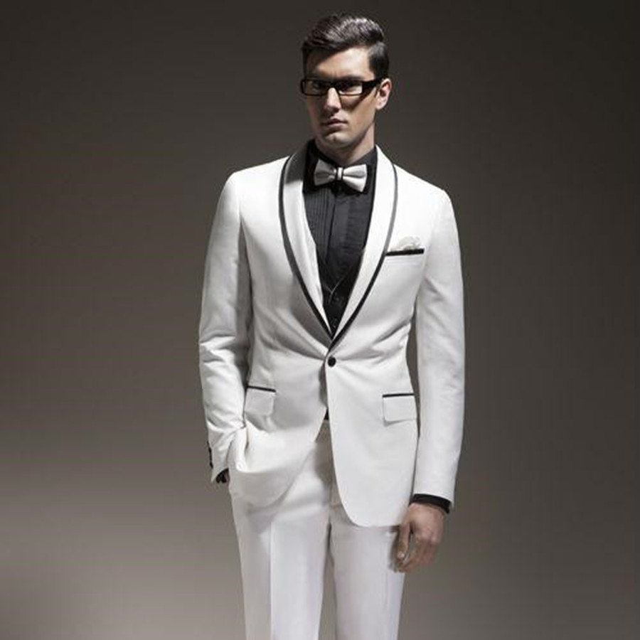 Wedding Suits For Abroad Groom: Latest Design Groom Suits White Shawl Lapel Groom Tuxedo