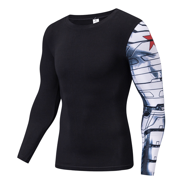 2f26241d6bf9 Captain America Costume Winter Soldier T-shirt Mens Long Sleeve Cotton  Ironman Arm Fitness Tops Halloween Cosplay