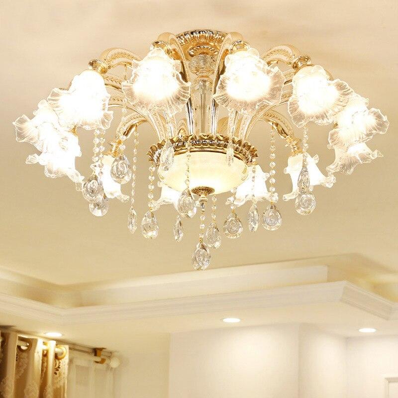 Lustre en cristal européen plafonnier salon chambre moderne chambre atmosphère chaleureuse lampes européennes simples