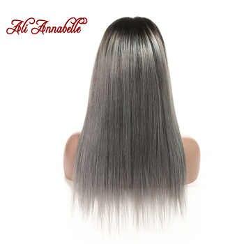 アリアナベル毛ブラジルレースフロントかつらストレートヘア 16 インチレースかつらオンブル毛 1B/グレーレースフロントかつらの Remy 毛