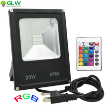 GLW Led 20W Flood Light Led 110V/220V RGB Landscaping Outdoor Lighting IP65 Waterproof Floodlight Plug Projecteur Led Exterieur