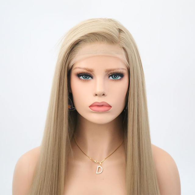 Rongduoyi Long Silky Straight Hair Synthetic Lace Front Wig Ash Blonde Side Part Cosplay Wig Glueless Front Lace Wigs for Women 4
