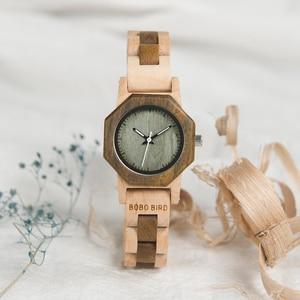 Image 4 - BOBO BIRD أحدث WM25 ساعة خشب الطبيعة للنساء التصميم الإبداعي المثمن ساعات كوارتز هدية صندوق relogio feminino