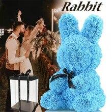 40 cm 부활절 토끼 시뮬레이션 장미 토끼 동물 모양 로즈 사랑스러운 선물 부활절 홈 장식 상자없이