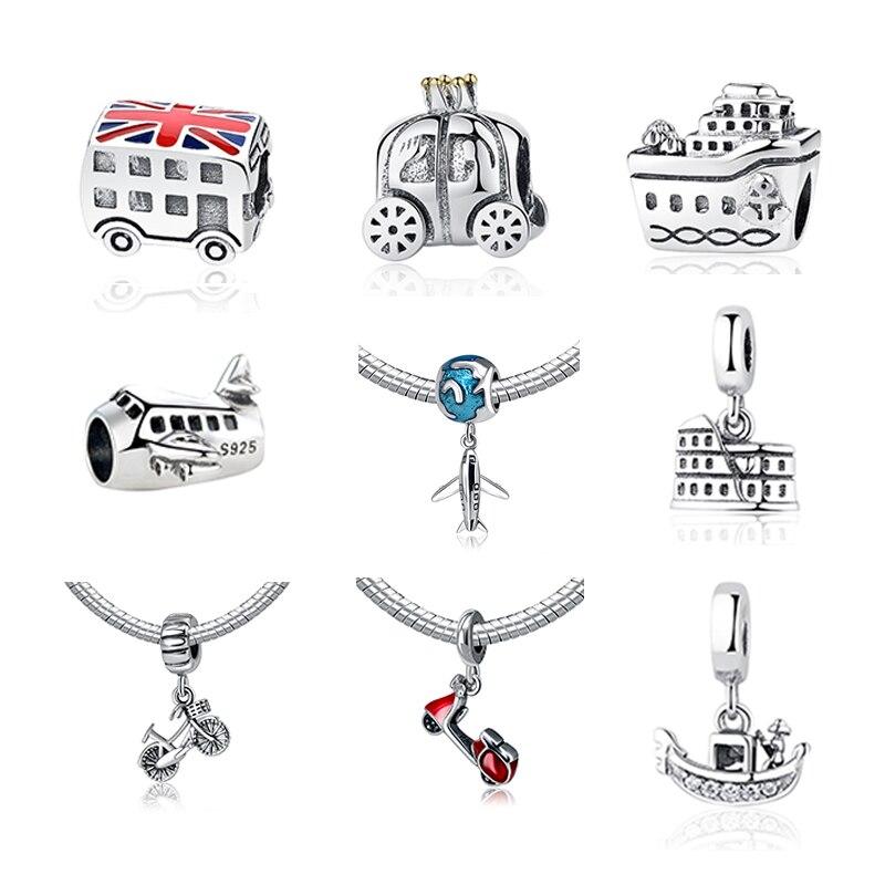 2017 Authentic 925 Sterling Silver Modes Of Trip Trasportation Beads Fit Pandora Charm Bracelet Pendants DIY Original Jewelry