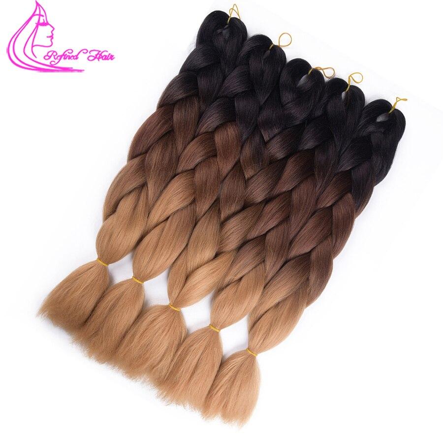 Refined Hair 24inch Jumbo Box Braids Crochet Braid Hair 100colors Ombre Kanekalon Synthetic