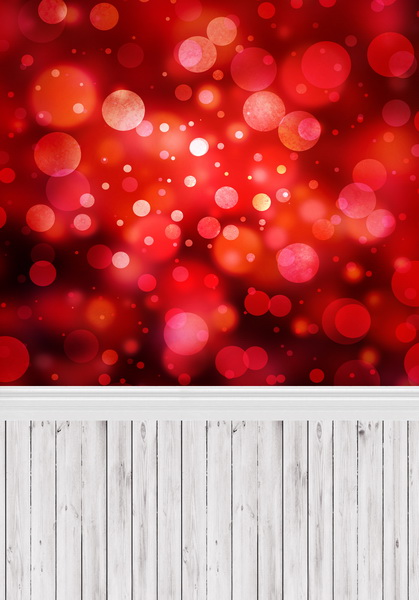 8 ft x 10 ft Vinyl red bokeh photography backdrops fabric printing for photo studio wood floor background F-420