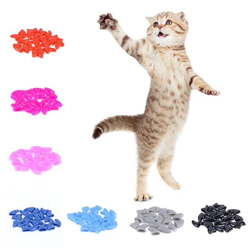 Online Shop 100 pcs - Cats Kitten Paws Grooming Nail Claw Cap+5 ...