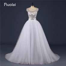 Real Picture Heavy Crystal Top Scoop Tulle Short Sleeves Ball Gown Dubai Wedding Dresses Bridal Gown 2017 Robe de Soiree FW105