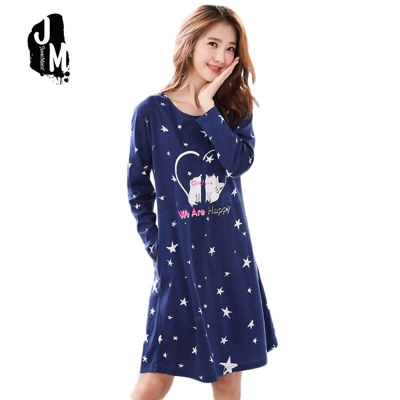 Woman Cotton   Nightgowns   Cute Nightdress Sleepwear Long Sleeve Spring Autumn Casual Nightwear Stripe   Sleepshirts   Shirts XXXL