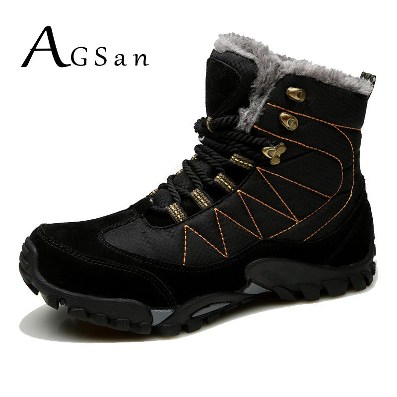 купить AGSan Men Boots Leather Snow Shoes Men Waterproof Winter Boots Keep Warm Plush Botas Hombre High Top Antiskid Mens Snow Boots