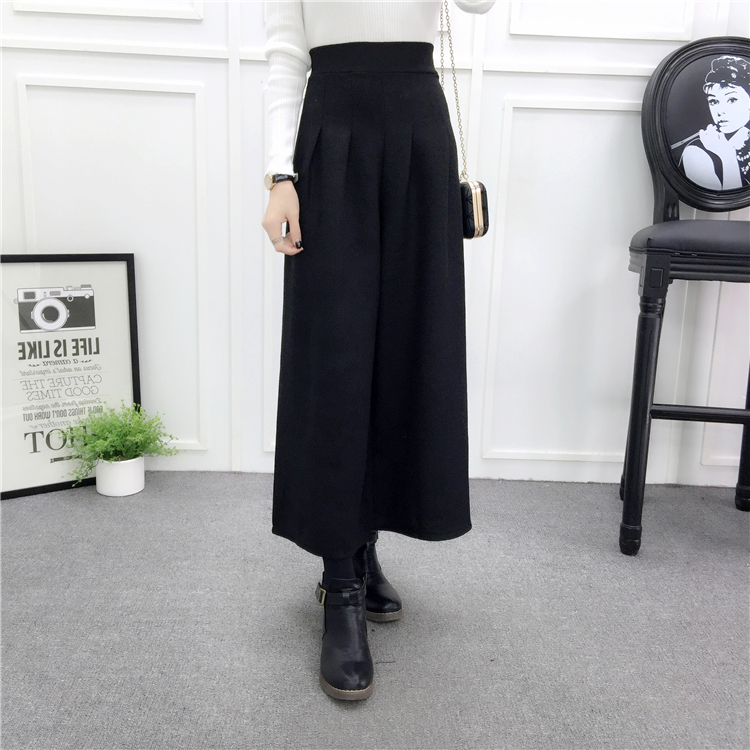 ZHISILAO Loose Trousers Women Winter Warm Wool Wide Leg Pants Maxi Plaid High Waist Trousers Elastic Thick Black Pants Casual 20