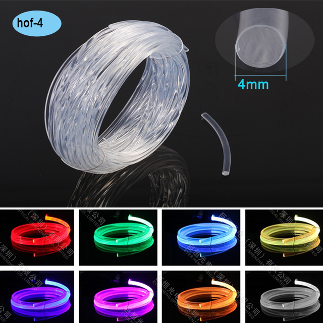 Side Emit 4 0mm Color Changing Led Interior Car Light Decorative Plastic Fiber Optic
