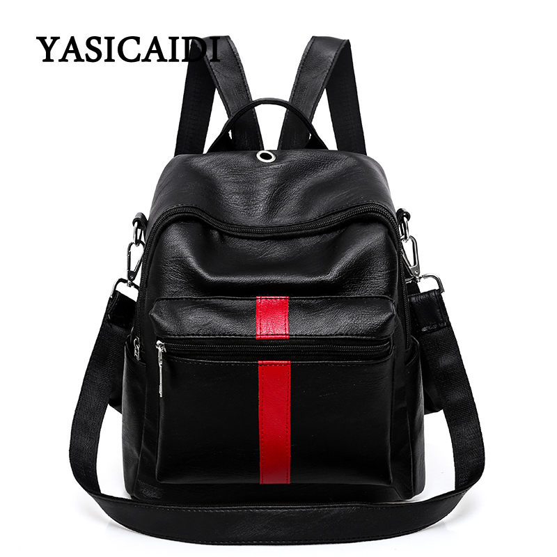 High Quality PU Leather Backpack 2018 Famous Brand Backpacks For Teenage Girls School Bags Shoulder Bag Fashion Solid Mochila 2017 high quality women backpack vintage backpacks for teenage girls fashion large school bags pu leather black bag mochila