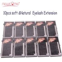 NEWCOME 10 Trays 3D Korean Eyelash Extension Individual Natural Black Eyelashes Long Eye Lashes 100% Hand Made Eyelashes Make Up