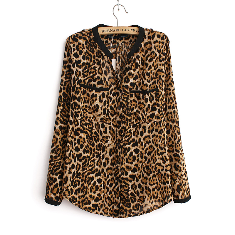 2018 Women Blouse Leopard Print Shirt Long sleeve V -Neck Top Loose Blouses Plus Size Chiffon Shirt Camisa Feminina Clothing