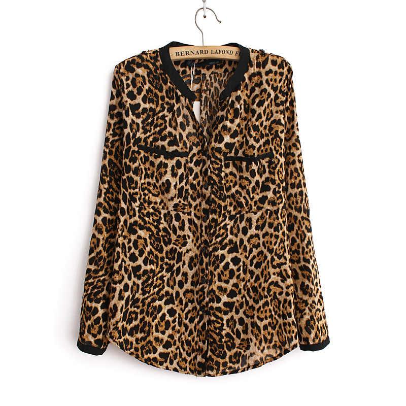 d7997c51dd1f 2019 Women Blouse Leopard Print Shirt Long sleeve V -Neck Top Loose Blouses  Plus Size
