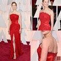 Sexy Strapless Rojo Rosa 2016 Celebrity Vestido de Noche Zuhair Murad Vestidos Longo Raja Del Lado Prom Party Desses Red Carpet u65