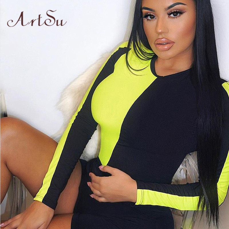 ArtSu Neon Green Orange Bodycon Jumpsuit Women Long Sleeve Bodysuit Rave <font><b>Festival</b></font> <font><b>Sexy</b></font> Rompers Streetwear Bodies Mujer ASJU60047 image