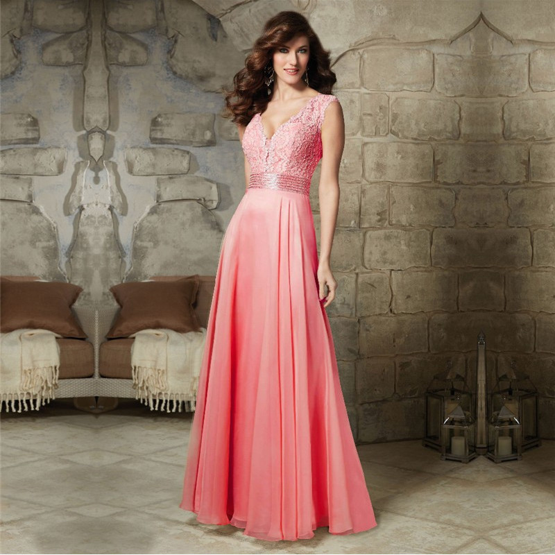 V-neck Lace Chiffon Long Bridesmaid Dress