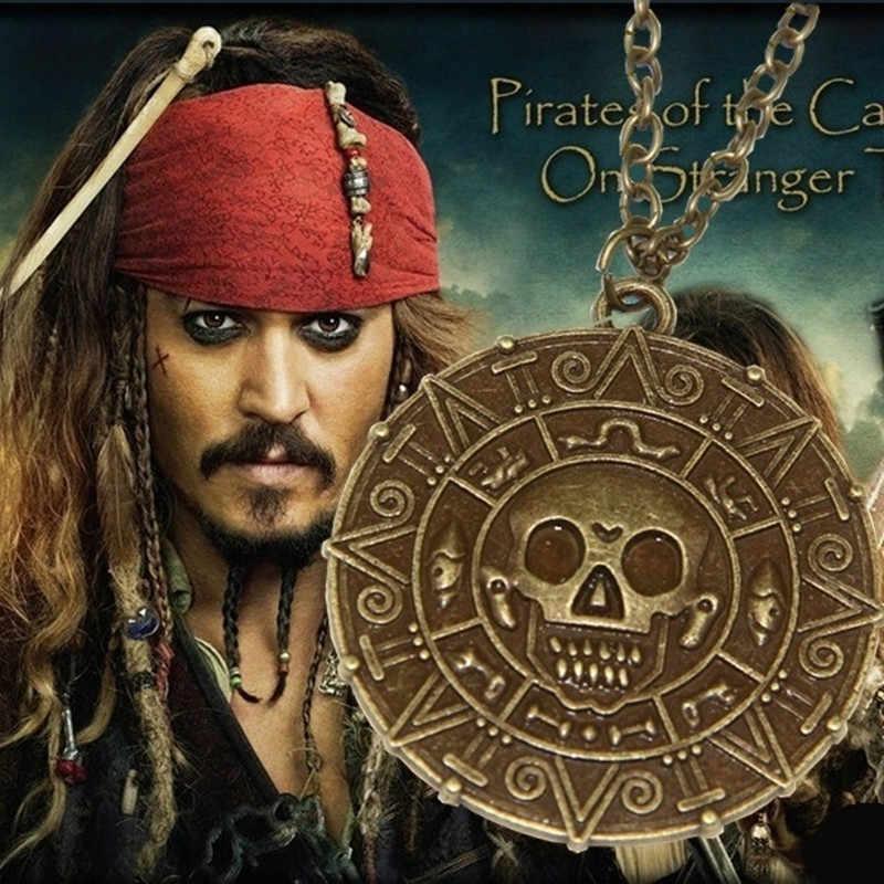 Nowy stary naszyjnik piraci z karaibów Aztec złota moneta naszyjnik