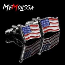 цена на MeMolissa Waving Flag Design American Flag Design Cufflinks Silver with White Blue Red Enamel Plated Cufflinks for Mens