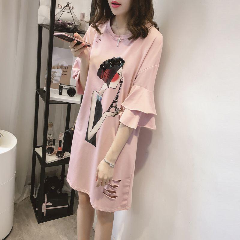 Women Summer Dress Cartoon Print Dress Casual Loose Party Dress Vestidos Plus Size 4XL in Dresses from Women 39 s Clothing