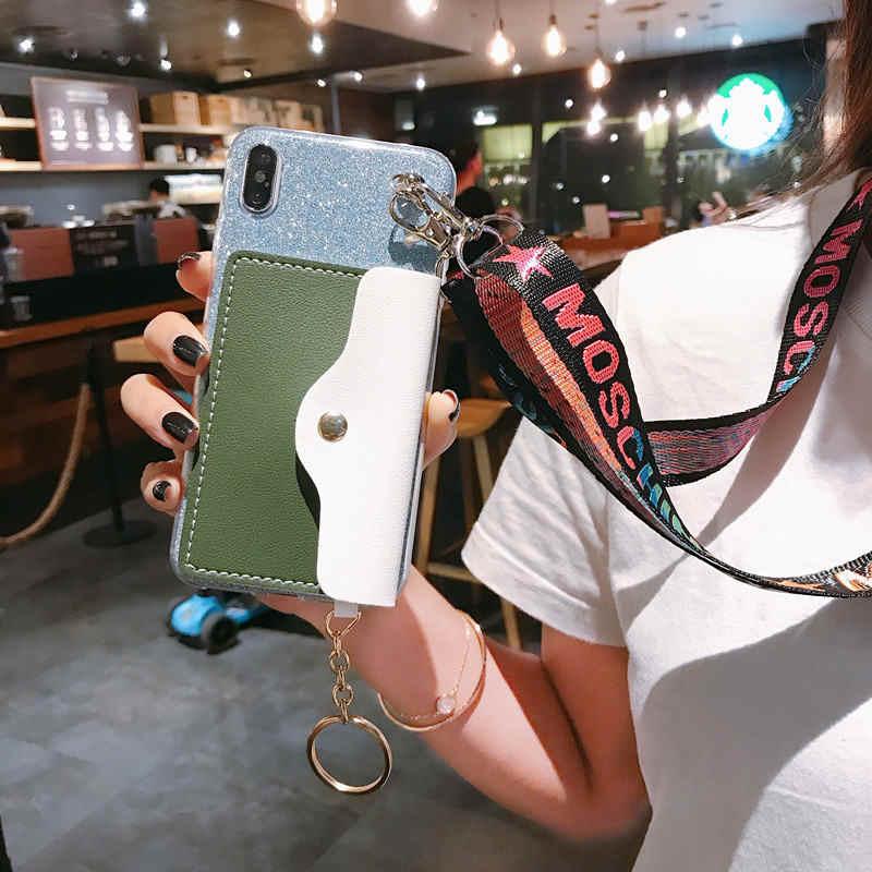 Блестящий кошелек, чехол для телефона с шнурком, ожерелье, плечевой ремень на шею, веревочный шнур для LG K40 V30 V40 Q6 Q7 Q8 G5 G6 G7 K8 2018