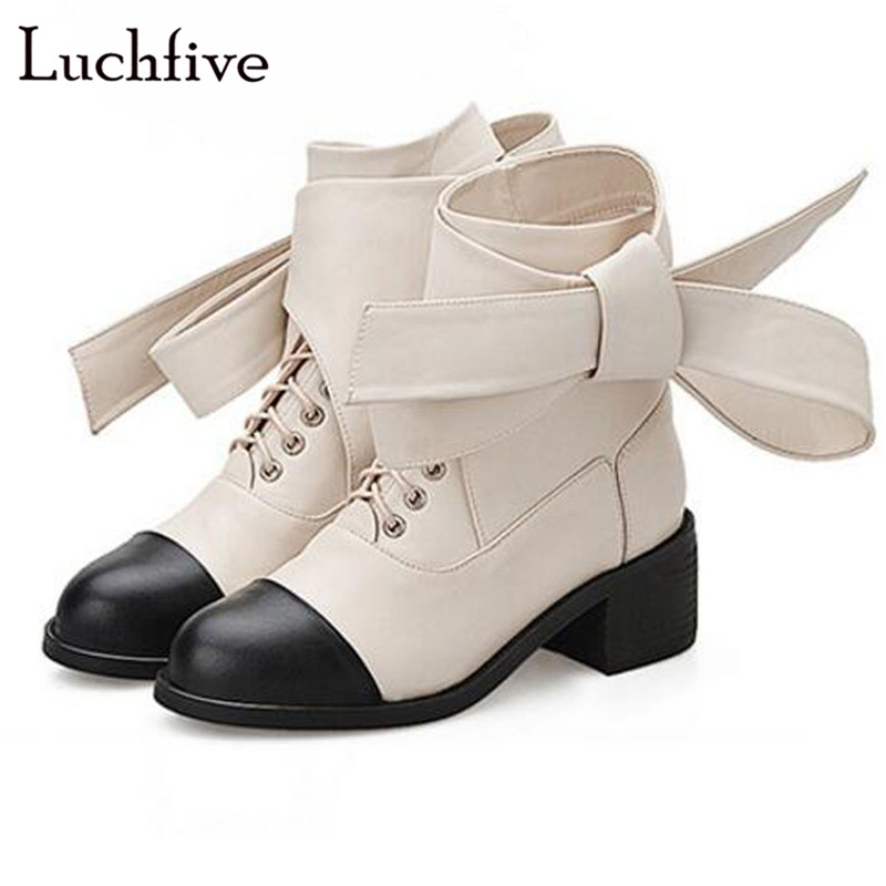 Здесь продается  Luchfive black white martin boots platform med heel patchwork bigger butterfly knot Winter Shoes Ankle boots for women     Обувь