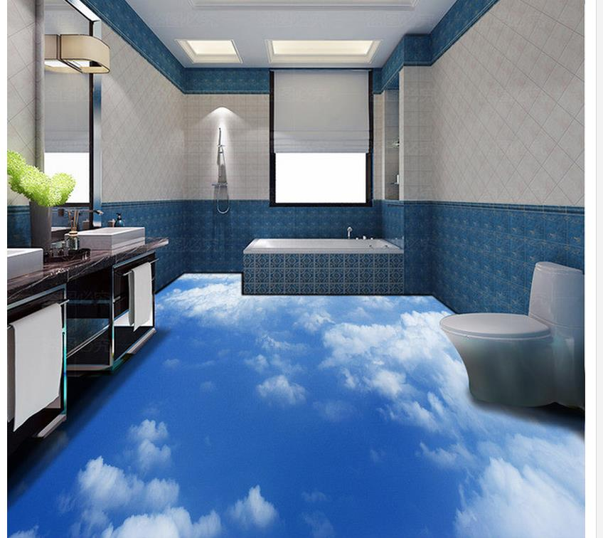 Blue Sky And White Clouds 3D Floor Pvc Self Adhesive Wallpaper Home Decoration  Bathroom Floor Wallpaper In Wallpapers From Home Improvement On ...