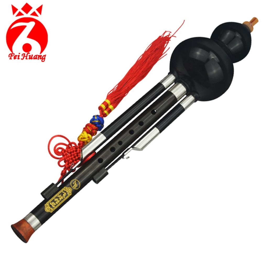 Chinese Traditional Instruments Hulusi Yunnan Minority Ebony Wood Gourd Cucurbit Flute Musical Instrument Key Of C Bb Tone F11