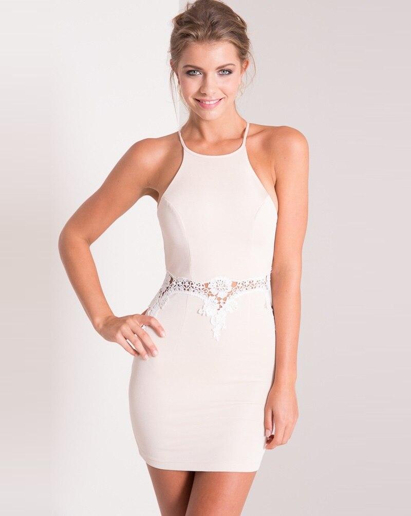 51f3904a1d 2016 Sexy Kobiety Sukienka Koronka Backless Hollow Out Bodycon Dress Zipper  Mini Sukienka Biała Party Dress Vestidos Plus size