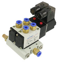 High quality DC 12V 2 Positions Twin Solenoid Valve Base Muffler Quick Fittings Set Free shipping