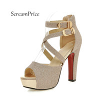Frauen Schnalle Plattform Bling Starke Absatz Sandalen Mode Peep Toe Kleid Partei Sommer Schuhe Silber Schwarz Gold