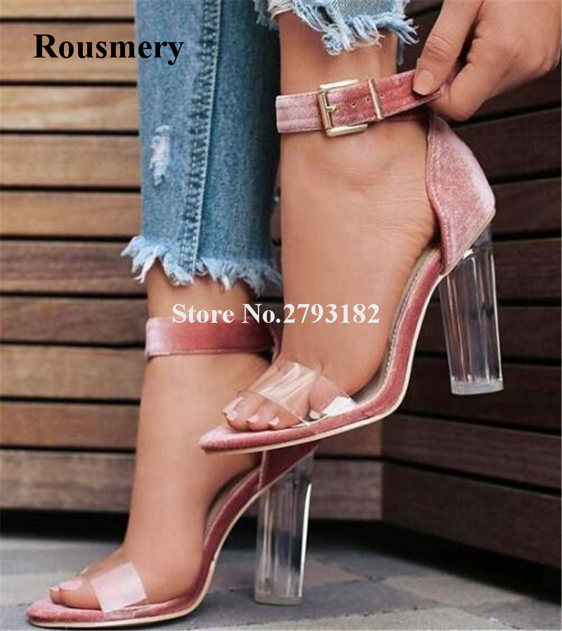 New Arrival Women Fashion Open Toe Satin Transparent Thick Heel Sandals Ankle Strap Thick Crystal High Heel Sandals Dress Shoes stylesowner rhinestone ankle strap high heel women sandals crystal beading tassel open toe chunky heel ladies dress party shoes