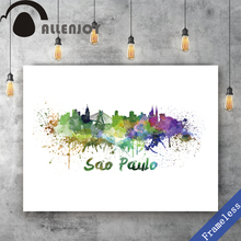 Unframed Canvas print Hand Painted watercolor colorful city Sao Paulo poster picture wall art Oil painting decoration home decor