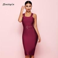 Seamyla 2019 New Bandage Dress Women Sleeveless Celebrity Party Dresses Sexy Wine Red Black Apricot Vestido Night Out Club Dress