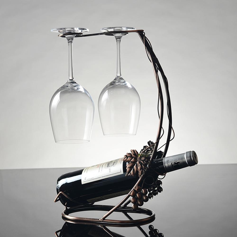 buy vintage wine holder grape vine metal wine rack glass cups hanging holder hanger table support organizer storage display barware from - Metal Wine Rack