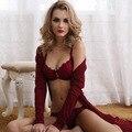 Ms Europa verão sexy transparente rendas grandes estaleiros seção fina sutiã esponja fina conjunto de roupa interior
