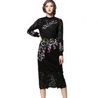 Runway Embroidery Party Dresses 2017 Women High Quality Stand Neck Long Sleeve Black Lace Dress Party
